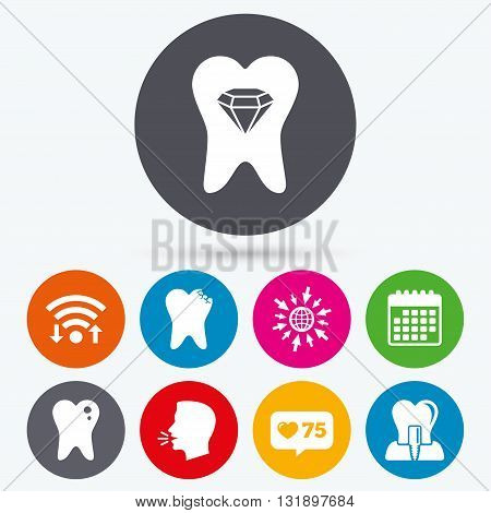 Wifi, like counter and calendar icons. Dental care icons. Caries tooth sign. Tooth endosseous implant symbol. Tooth crystal jewellery. Human talk, go to web.
