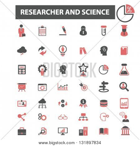 researcher and science icons