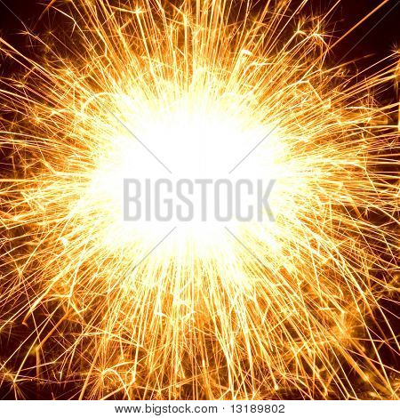 Abstract photo of fireworks with free space in the middle
