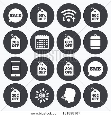 Wifi, calendar and mobile payments. Sale discounts icons. Special offer signs. Shopping price tag symbols. Sms speech bubble, go to web symbols.