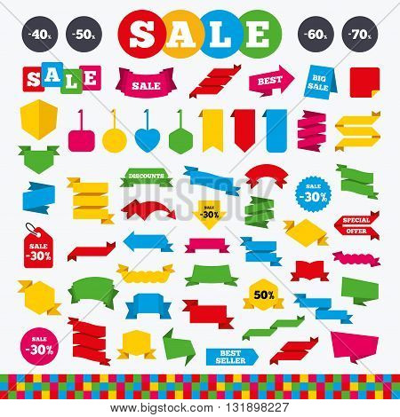 Banners, web stickers and labels. Sale discount icons. Special offer price signs. 40, 50, 60 and 70 percent off reduction symbols. Price tags set.