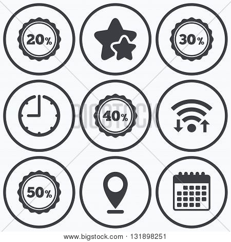 Clock, wifi and stars icons. Sale discount icons. Special offer stamp price signs. 20, 30, 40 and 50 percent off reduction symbols. Calendar symbol.