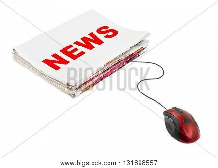 Stack of newspapers News and computer mouse isolated on white background