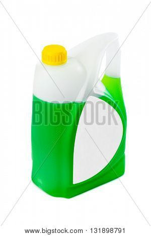 Jerrycan with green liquid and blank label isolated on white background
