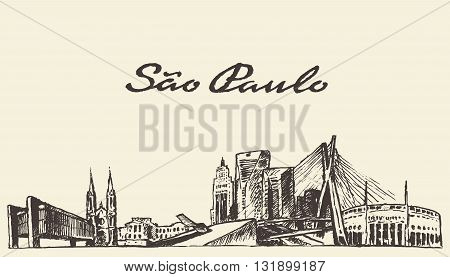 Sao Paulo skyline vector illustration hand drawn sketch