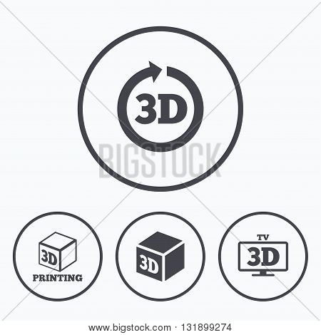 3d tv technology icons. Printer, rotation arrow sign symbols. Print cube. Icons in circles.