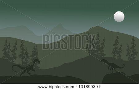 Megapnosaurus in hills scenery silhouette at the night