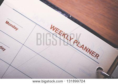 Weekly Menu on white note paper. memo. planing.