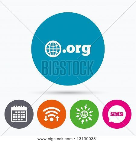Wifi, Sms and calendar icons. Domain ORG sign icon. Top-level internet domain symbol with globe. Go to web globe.