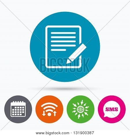 Wifi, Sms and calendar icons. Edit document sign icon. Edit content button. Go to web globe.