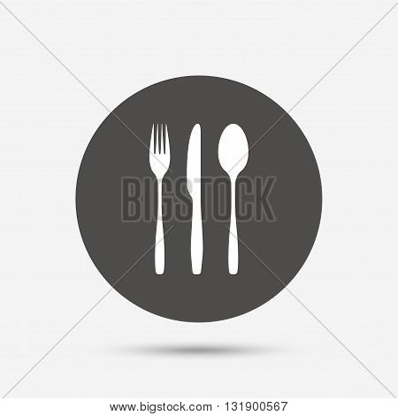 Fork, knife, tablespoon sign icon. Cutlery collection set symbol. Gray circle button with icon. Vector