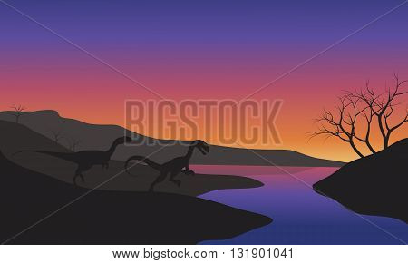 Megapnosaurus in riverbank scenery silhouette at the sunset