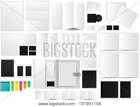 Office and working space paper mockup icon with many objects and stationary tools create by vector