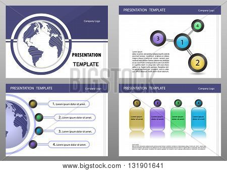 Education or business presentation template set.Presentation templates Infographic elements flat design set for brochure flyer leaflet marketing advertising.Vector illustration