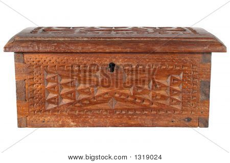 Old Wooden Treasure Chest, Isolated On A White Background.