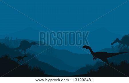 Silhouette of Spinosaurus and Megapnosaurus at the night