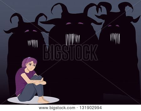 Sad girl sitting hugging her knees, a monster touching her shoulders, vector illustration
