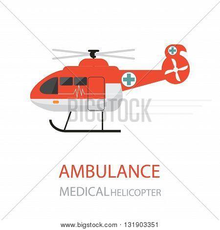 Ambulance helicopter emergency medical service isolated on white background.