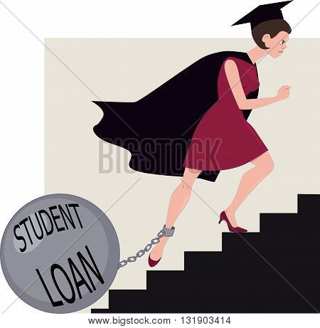 Student loan burden. Young woman in a graduation mantle and a hat climbing stairs with a ball chained to her leg