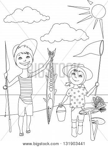 Summer activities for kids coloring page, EPS8 vector illustration