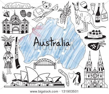 Travel to Australia doodle drawing icon with people culture costume landmark and cuisine tourism concept in isolated background create by vector