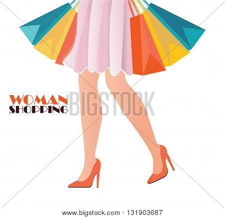 Waist-down view of shopping woman wearing high heel shoes and carrying shopping bags fashion conceptual Vector illustration.