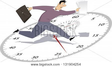 Time management. Stressed man running with papers on a stop-watch