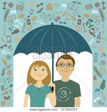 Simple living. Young couple trying to reduce consumption of consumer goods, covering under umbrella from the rain of unnecessary things, vector illustration