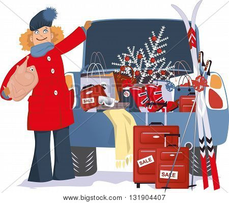 Holiday shopping. Smiling cartoon woman standing next to a car, loaded with Christmas purchases,gifts and discount items