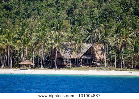Tropical beach house sea water and coconut palm tree in Philippines
