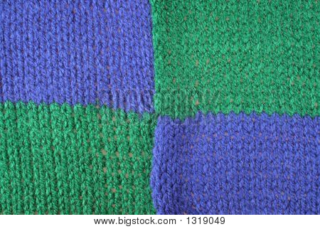 Blue And Green Knitted Wool.