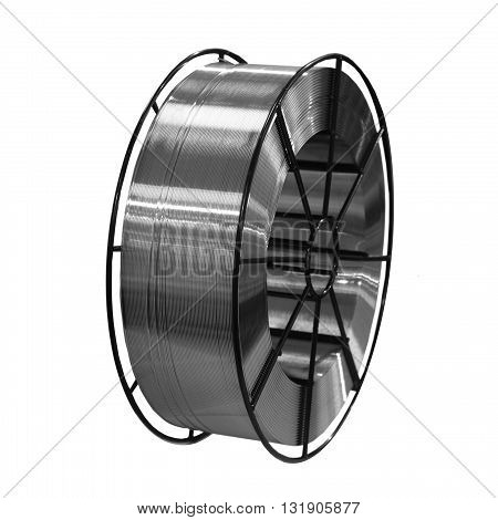 one roll of weld wire isolated on white