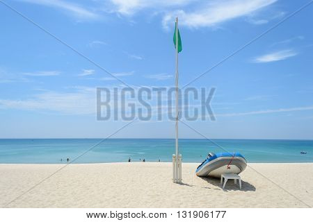 dinghy on the beachBang Tao beach in PhuketThailand