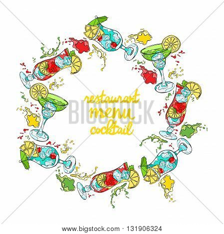 Cocktail. Refreshing drink. Splashes and drops. Isolated vector object on white background. Frame - wreath.