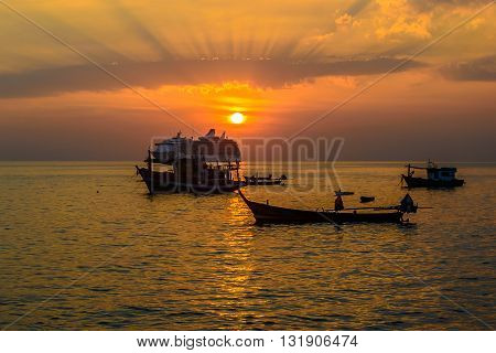Sunset at Kalim beach near Patong beach Phuket Thailand