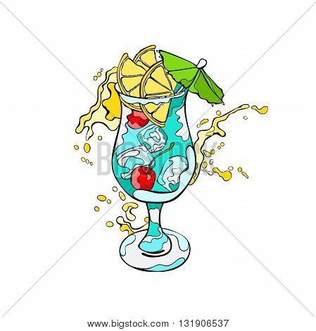 Cocktail. Refreshing drink. Splashes and drops. Isolated vector object on white background.