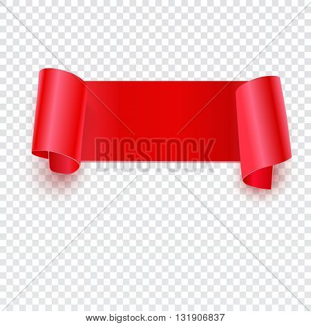 Red banner with curled edges on a transparent background, Realistic red vector ribbon. Vector illustration for your presentation, posters, cover and other design
