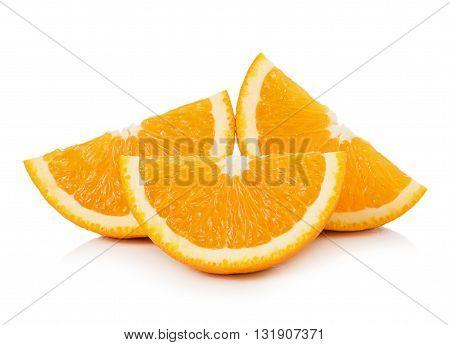 closeup Orange fruit isolated on white background