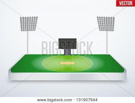 Concept of miniature tabletop cricket stadium. In three-dimensional space. Vector illustration isolated on background.