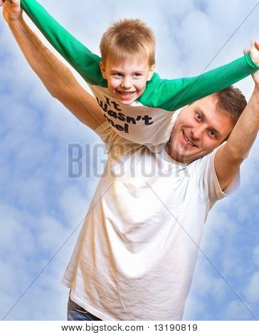 Father playing with son