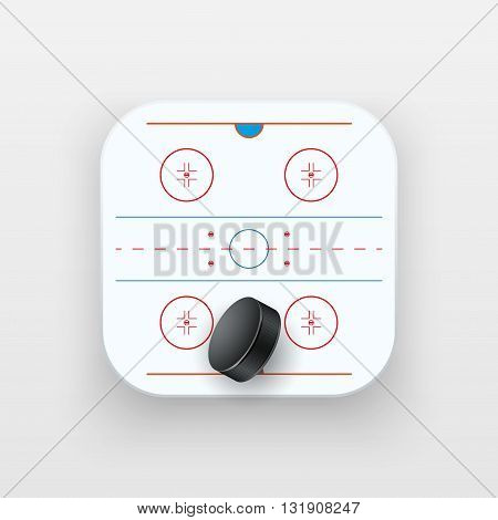 Square icon of ice hockey sport. Sporting field and ball. Vector Illustration isolated on background.