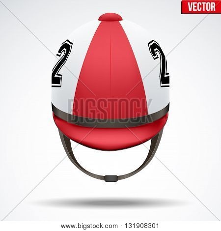 Classic Red Jockey helmet with number for horseriding athlete. Front view of Sport equipment. Vector Illustration isolated on a white background.