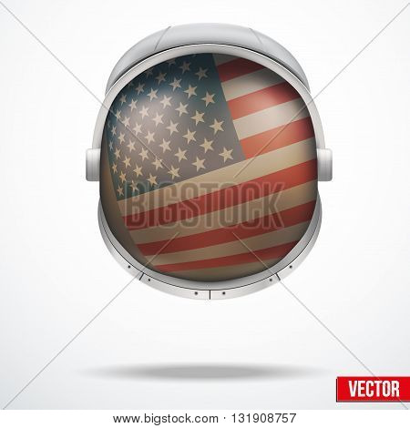 Astronaut helmet with big glass with flag USA reflecting on visor glass. Vector Illustration Isolated on White Background