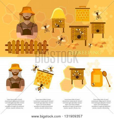 Honey and beekeeping industry infographics beekeeper on apiary vector