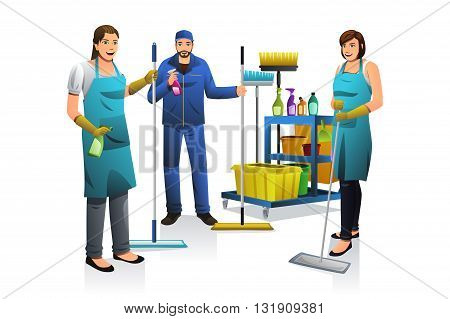 A vector illustration of professional cleaner people with janitor cart