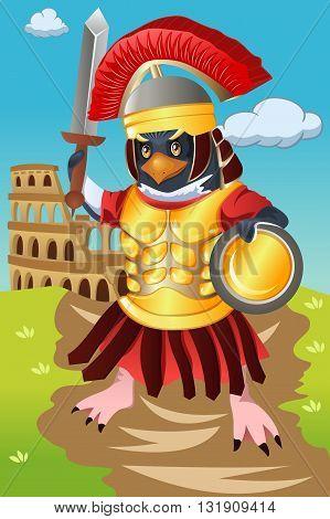 A vector illustration of gladiator bird in costume
