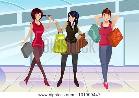 A vector illustration of modern women shopping at the mall