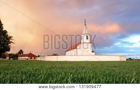 Church on a field, Countryside landscape at sunrise