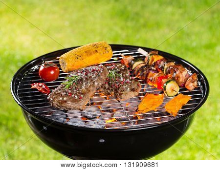 Various kind of meat served on grill with grass on background