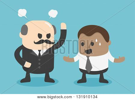 angry boss concept. Young African businessman  illustration